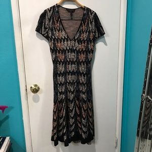 BCBGMAXAZRIA feather fit and flare knit dress